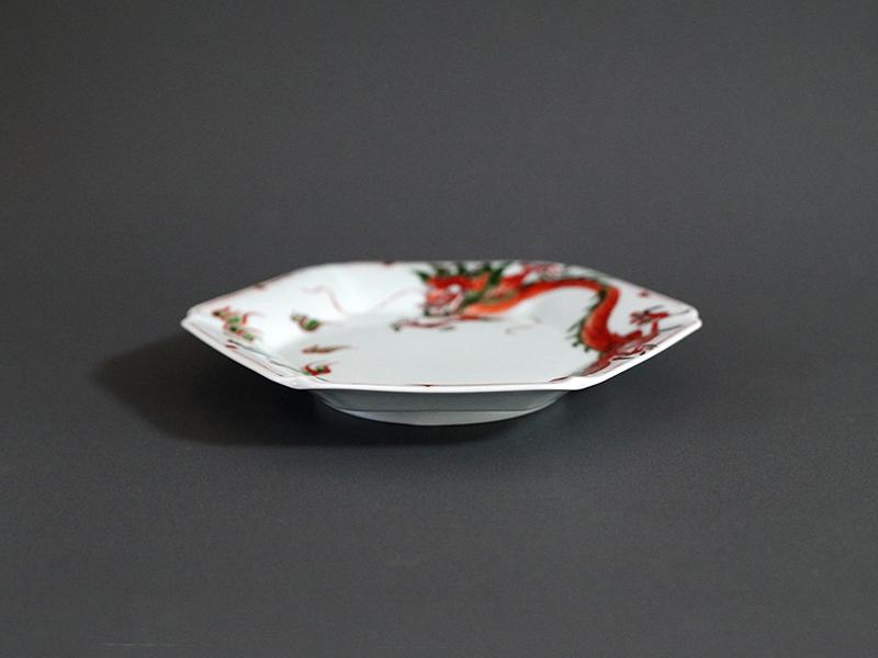 21908-135 ユス灰錦龍六角皿 size 16.5×18×2.6cm