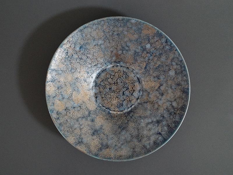 22001-510 渋ルリマット銀散し260反ボウルプレート size φ26.0×4.0cm