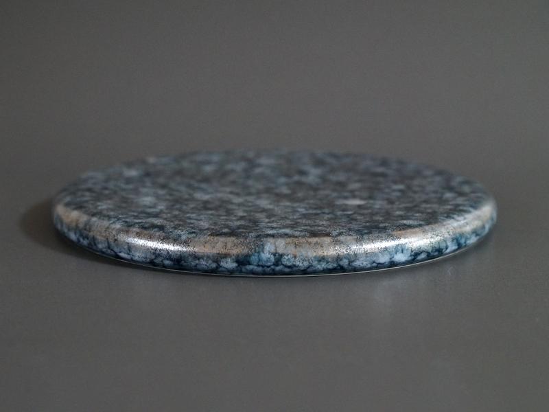 CKZ075B 渋ルリマットホワイト銀散し26cmサークルプレート size φ26.5×2.0cm