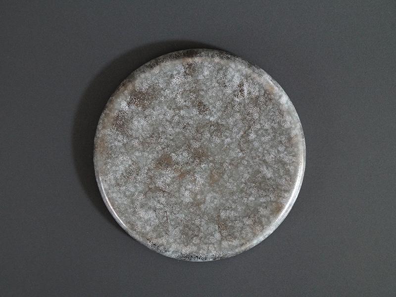 CKZ074A グレーマットホワイト銀散し23cmサークルプレート size φ23.3×2.0cm